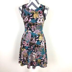 Xhilaration Floral Black Mesh Tank Dress Size S